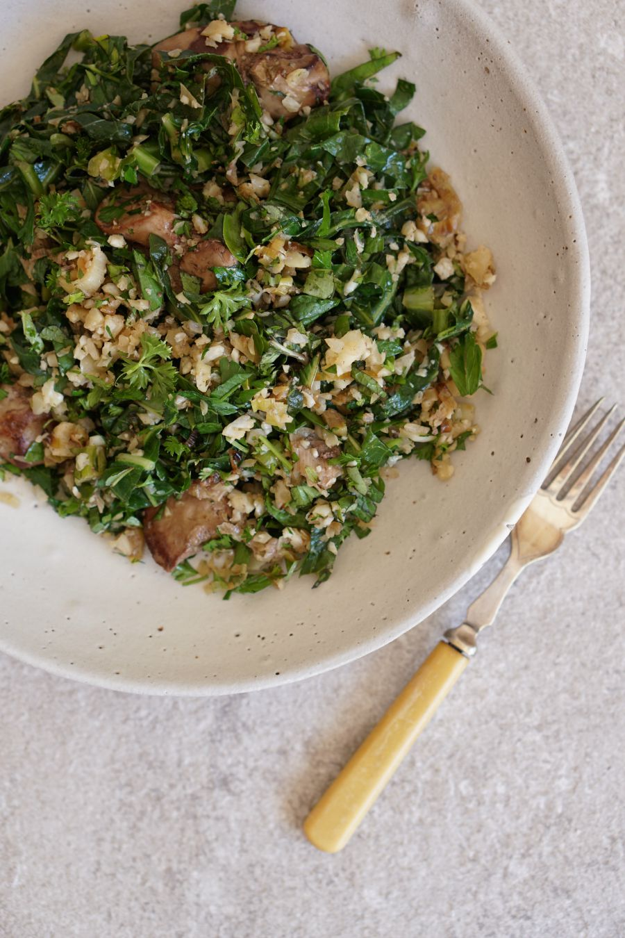 Sauteed Chicken Livers, Riced Cauli, Collards and Herbs - portrait