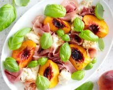 peach and prosciutto caprese salad